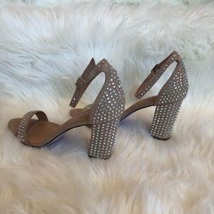 EUC nude suede w/holographic rhinestone heels